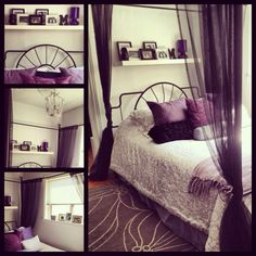 A shelf like this over the head of the bed would look really great I think :)