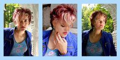 Haarmode kort met violet-mahoniekleur en blonde lok Hair and photo Jolande Goverde