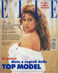 SEXY RARE July 1992 Elle Italy Cindy Crawford Suzanne Lanza swimsuits nudes MORE