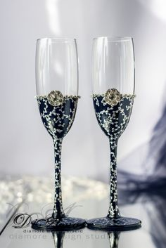 Navy & Silver lace/ Personalization wedding glasses / от DiAmoreDS