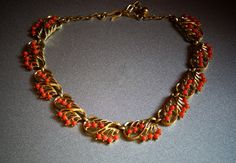 Trifari Necklace with Coral Glass Beads by TheSnazzyRhino on Etsy, $58.00