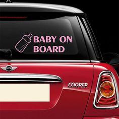 "Baby In Car Boy Bottle Sign Car Bumper Sticker Decal 5/"" x 4/"""