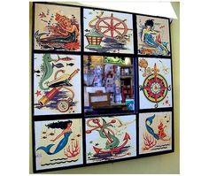 Mermaid wall mirror retro vintage 1950's pin up girl rockabilly nautical kitsch