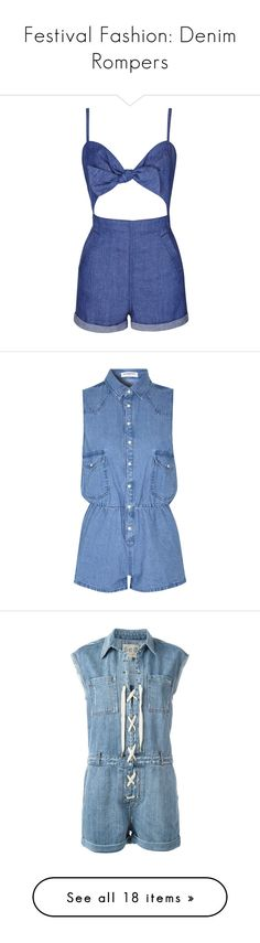 """""""Festival Fashion: Denim Rompers"""" by polyvore-editorial ❤ liked on Polyvore featuring denimrompers, jumpsuits, rompers, dresses, jumpsuit, playsuit, shorts, bleach, blue jumpsuit and topshop jumpsuit"""