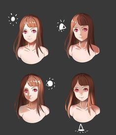 A simple lighting reference that i make to celebrate my 100 likes on my fanpage the upper left one is ambient light upper right is side light lower left is side light, but the lig...