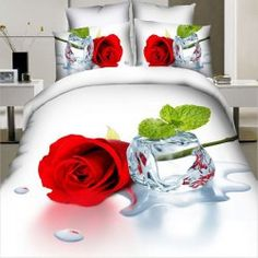 Stylish Simple 3D Oil Painting Rose and Ice Cube Pattern 4 Pcs Duvet Cover Sets(Without Comforter ) (RED WITH WHITE,SINGLE) | Sammydress.com Mobile