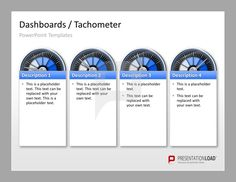 Dashboard / Tachometer PowerPoint Template The pointer graphics are ideal for comparison analysis, evaluation and management dashboards. Status or phases of a project can be elegantly visualized by differently colored sections of the dashboard.  #presentationload www.presentationl...