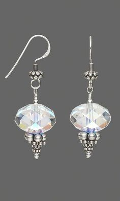 Sterling Silver Jewelry Jewelry Design - Earrings with Swarovski Crystal Beads and Sterling Silver Beads - Fire Mountain Gems and Beads Jewelry Design Earrings, Designer Earrings, Beaded Earrings, Wire Jewelry, Jewelry Crafts, Beaded Jewelry, Jewelery, Silver Jewelry, Handmade Jewelry