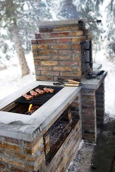 Grill Station design ideas for your backyard. - cool Fire Pits: Find Outdoor Fire Pit Table and Bowl Designs Online by Relaxing Outdoor Kitchen Ideas for Happy Cooking & Lively Party Pit Bbq, Barbecue Smoker, Bbq Grill, Grill Party, Brick Bbq, Outdoor Kitchen Countertops, Outdoor Oven, Outdoor Grilling, Best Outdoor Grills