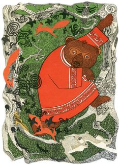 Gennady Pavlishin illustrations for Ворон, карась и лиса, 1968 and Амурские сказки, 1975. Sources: 1, 2.