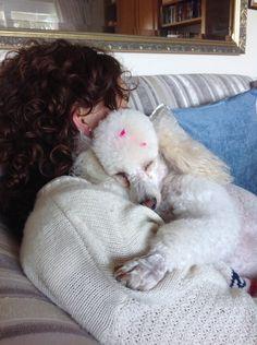 VANILLA ROSE fast asleep on her beloved René's shoulder.