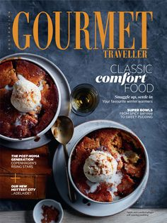 Apple and candied ginger self-saucing pudding :: Gourmet Traveller