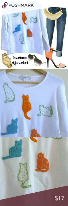 """Beaded Cats Blouse - Size M For the cat lover in your life (even if that person is you! ). This fun blouse is white with six beaded kitties in shades of yellow-green, tangelo, sky blue, and pearly persimmon. It's most likely hand embroidered. In fantastic condition, with not a bead out of place. Three quarter sleeves and well stitched arm seams. Purrrfect for all you cat people. Bust: 38"""", waist: 36"""", length: 22"""", size: medium (PLEASE CHECK MEASUREMENTS), label: Susan Bristol, materials…"""