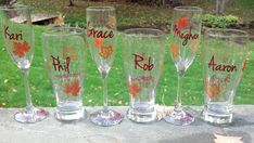 """But these would better """"fit"""" our wedding party.  Personalized Fall wedding glass gold brown and by WaterfallDesigns, $13.00"""