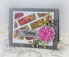 Rain Puddles Design created a wedding card with Be Blessed, Button Best and coordinating Petal Points and Sprightly Sprigs A Cut Above Dies. #vervestamps