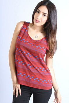 *** New Style *** GEO PRINTED CREPE TOP WITH CROCHET DETAILED BACK