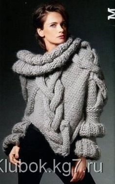 Роскошный вязаный свитер с накладными косами | Клубок
