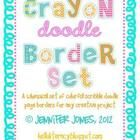 TpT 8 Crayon doodle borders, one each of every aqua, lime green, lt pink, hot pink, fuschi...