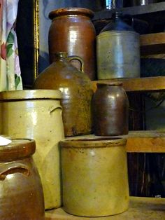 Prim Gathering ~ A Collection of Old Crocks & Jugs . Antique Crocks, Old Crocks, Antique Stoneware, Stoneware Crocks, Antique Pottery, Primitive Antiques, Earthenware, Antique Dishes, Primitive Country