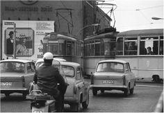Life in the  DDR: Always give way to trams. East  Berlin, early 1970s