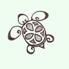 Cute little turtle /// Mignonne petite tortue (doodle art animals) Hawaiianisches Tattoo, Tattoo Baby, Tiki Tattoo, Tattoo Neck, Band Tattoo, Tattoo Tree, Ankle Tattoo, Hawaiian Tattoo, Cute Tattoos