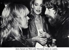 Mick Jagger and Marianne Faithfull meet, years later, in NY. Marianne had just released Broken English. Jerry Hall looks on.
