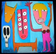 Original Outsider folk pop art brut painting by STUCKYOUTSIDERART, $375.00
