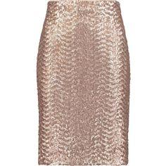 ALICE + OLIVIA   Metallic sequinned crepe skirt (11.035 RUB) ❤ liked on Polyvore featuring skirts, crepe skirt, sequin skirt, zip skirt, brown skirt and alice olivia skirt