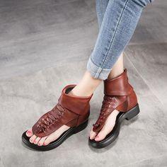 Fashion Soft Leather Low Heels Brand Women Summer Shoes Genuine Leathe– FantasyLinen Womens Summer Shoes, Sheepskin Boots, Vintage Leather, Low Heels, Leather Sandals, Soft Leather, Black And Brown, Rome, My Style