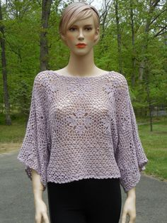 Crochet Lavender TunicPoncho by CasadeAngelaCrochet on Etsy, $85.00