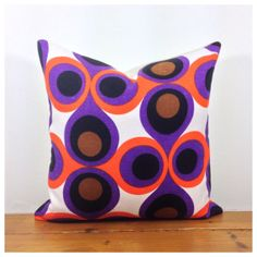 Throw Pillow Vintage 70s Psychedelic Purple Fabric 16 x by Retro68