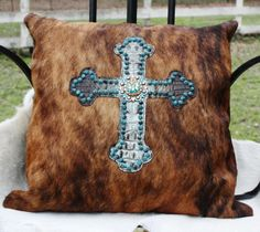 Raviani Brown Hair on Hide with Brown and Turquoise Alligator Cross Pillow