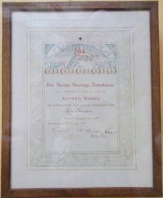 Son diplôme de Nobel de la Paix en 1920, musée des beaux-arts et d'archéologie de Châlons-en-Champagne.