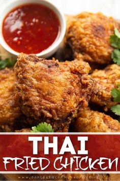 Vegan Fried Chicken, Fried Chicken Recipes, Indian Fried Chicken, Simple Fried Chicken Recipe, Fried Chicken Marinade, Thai Chicken Wings Recipe, Crispy Fried Chicken Wings, Garlic Fried Chicken, Gastronomia