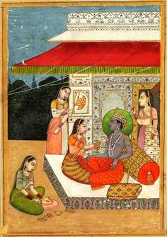 """Bhairava Raga, """"the Terrible"""" in Sanskrit, under the paint: """"bahiron"""". Rajput, Provincial Mughal, 18th century. A crown prince, with blue skin and wearing the Vaishnava emblem on his forehead, sitting on a bed. A woman anoints his torso w/ sandal paste.. A servant girl waving a fan, the other a fan """"peacock tail""""; preparing a third of the sandalwood paste on a round board. The name """"Bhairava"""" recalls the terrible aspect of the god Shiva, but the prince resembles Krishna/Vishnu."""