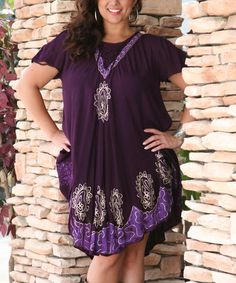 This Purple Lace-Up Embroidered Swing Dress by Ananda's Collection is perfect! #zulilyfinds