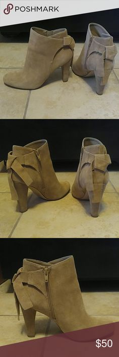 Aldo Huffington Beige Booties These booties have only been worn 3 or 4 times but I realized they are too small for me. They run small compared to the same size Ciredia booties. Only blemishes are the scuffs on the bottom (pictured). Other than that they are free of scratches, stains, etc. Aldo Shoes Ankle Boots & Booties
