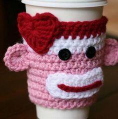 Crochet Valentines Day Sock Monkey Coffee Cozy Free Pattern