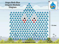 3D Origami Blue Angry Birds Diagram
