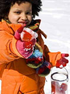 colored ice cube scavenger hunt in the snow