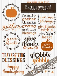 Freebie Bundle of 12 SVG cutting files for Thanksgiving!