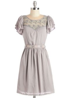 Indie Darling Dress in Taupe - Grey, Solid, Embroidery, Lace, Ruffles, Casual, Boho, Festival, A-line, Short Sleeves, Spring, Woven, Good, Mid-length, Belted, Variation