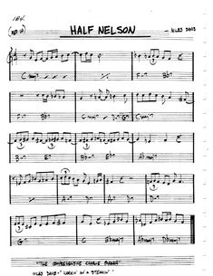 [Jazz Realbook I : Page Half Nelson - Jazz Standard Sheet Music Half Nelson, Music Theory Guitar, Jazz Songs, Jazz Standard, Lead Sheet, Sheet Music, Exercises, Pop, Books