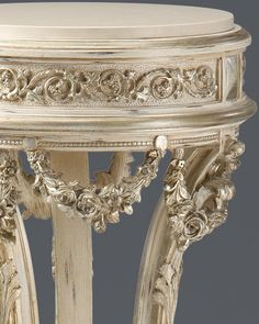 luxury Italian furniture | pedestals | Regency pedestal | Regency style carved wood pedestal in antique white finish with antiqued silver-leaf accents and white Carrara marble top