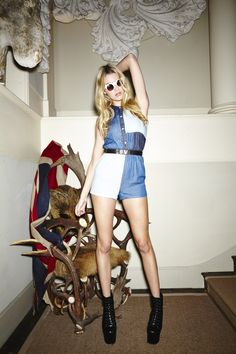 Patchwork Denim Playsuit - Misguided shoot