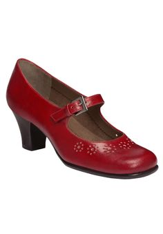 """Schoolgirl look for the sophisticated, modern woman. Mary jane silhouette has a darling flower motif, rounded toe, 2¼"""" stacked heel and side buckle entry. Bendable rubber sole with unique diamond pattern sole forms a comforting base for your active life. Innovative HeelRest technology disperses weight from the ball of your foot to your heel for a great feel.  Available in sizes 6.0-11, 12M; 6.0-11, 12W."""