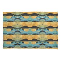 #black - #Monoprint Gold Black Blue Tiled Abstract Painting Pillow Case