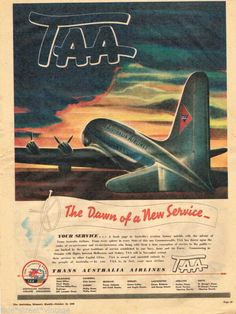 TAA, Trans Australian Airlines, 1946 advert