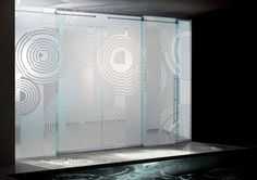 frosted glass doors - logo knockout