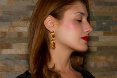 Gold filigree earrings with Ambers loredanamandas.com